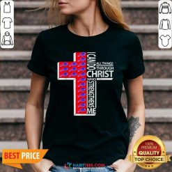 Funny I Can Do All Things Through Christ Buffalo Bills V-neck - Design by Habittees.com