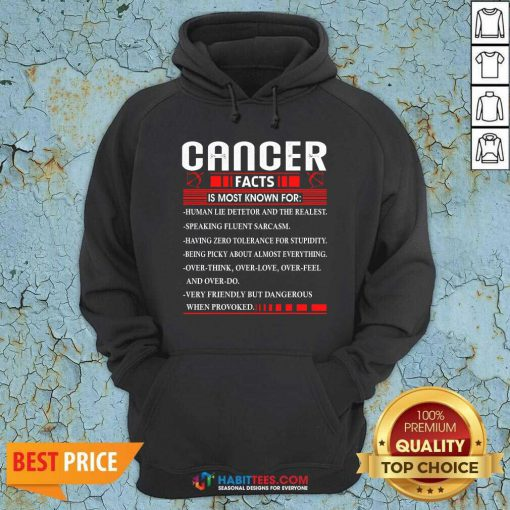 Funny List Cancer Facts Is Most Know For Zodiac Birthday Cancer Hoodie - Design by Habittees.com
