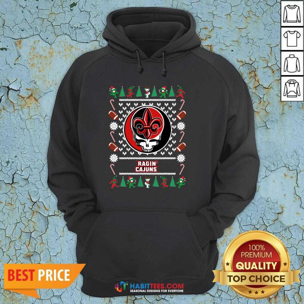 Funny Louisiana Ragin Cajuns Grateful Dead Ugly Christmas Hoodie - Design by Habittees.com