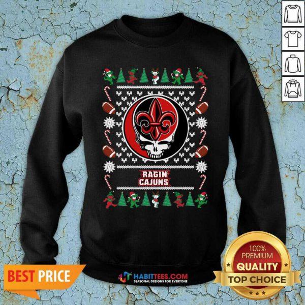 Funny Louisiana Ragin Cajuns Grateful Dead Ugly Christmas Sweatshirt - Design by Habittees.com