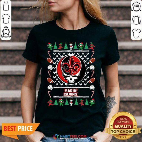 Funny Louisiana Ragin Cajuns Grateful Dead Ugly Christmas V-neck - Design by Habittees.com