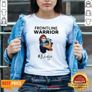 Funny Strong Girl Frontline Warrior #Nurse V-neck - Design by Habittees.com