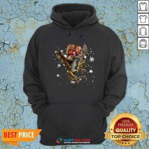 Good Santa Riding Dragon Christmas Hoodie - Design by Habittees.com