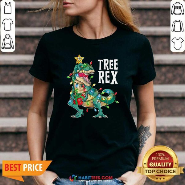 Good Tree Rex Christmas Tree Dinosaur V-neck - Design by Habittees.com