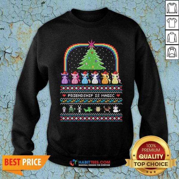 Good Unicorn Friendship Is Magic Ugly Christmas Sweatshirt- Design by Habittees.com