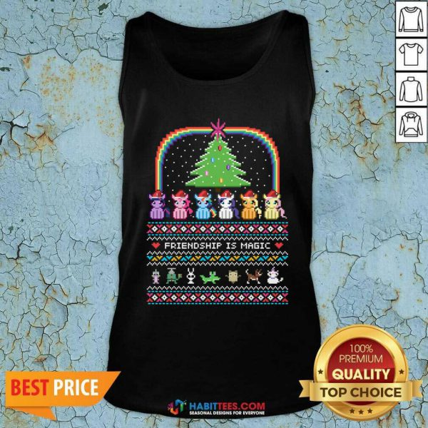 Good Unicorn Friendship Is Magic Ugly Christmas Tank Top- Design by Habittees.com