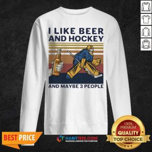 I Like Beer And Hockey And Maybe 3 People Vintage Sweatshirt - Design by Habittees.com