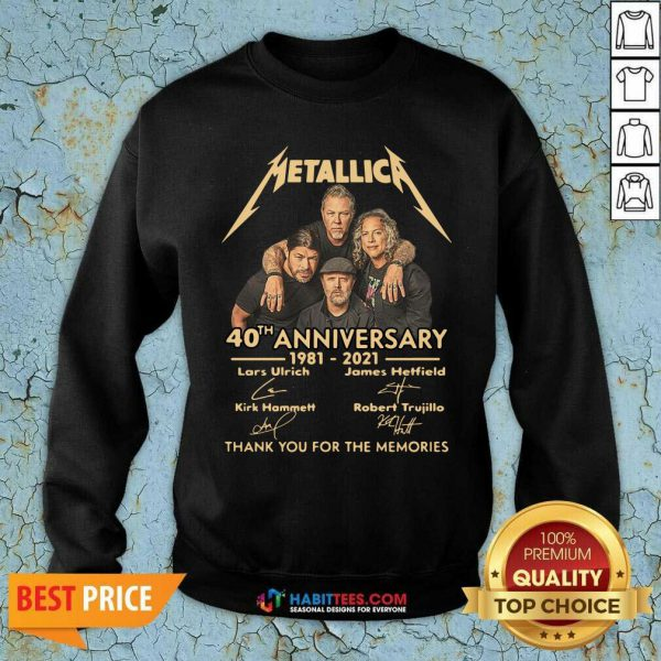 Metallica 40th Anniversary Thank You For The Memories Signature Sweatshirt - Design by Habittees.com