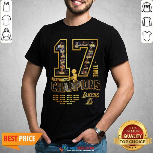 Nice 17 Time Nba Finals Champions Los Angeles Lakers 1949 1950 1952 1953 Shirt - Design by Habittees.com