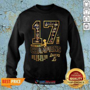 Nice 17 Time Nba Finals Champions Los Angeles Lakers 1949 1950 1952 1953 Sweatshirt - Design by Habittees.com