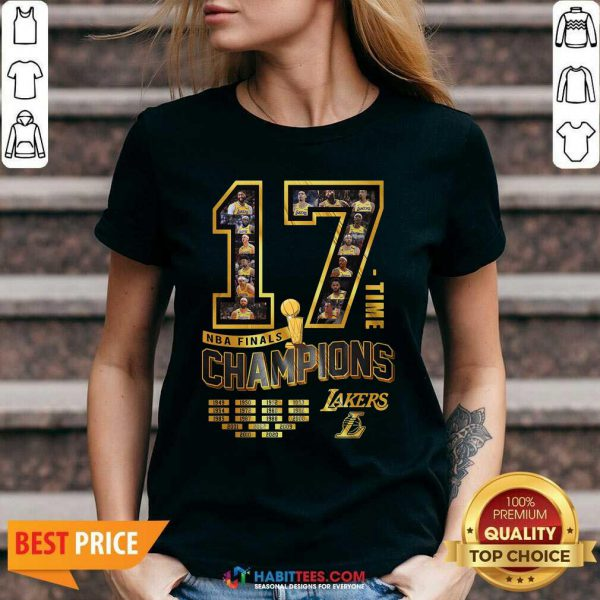Nice 17 Time Nba Finals Champions Los Angeles Lakers 1949 1950 1952 1953 V-neck - Design by Habittees.com