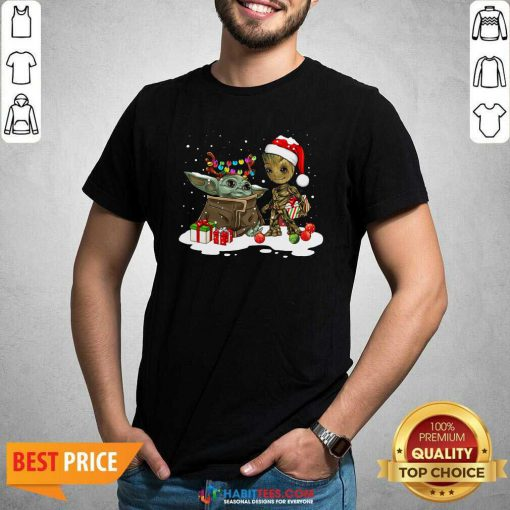 Nice Baby Yoda And Baby Groot Happy Merry Christmas Shirt - Design by Habittees.com