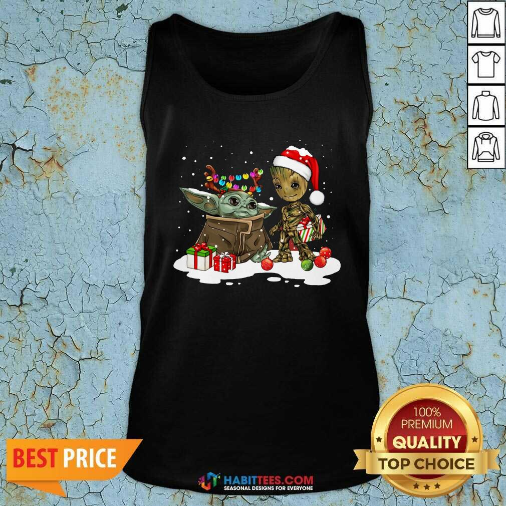 Nice Baby Yoda And Baby Groot Happy Merry Christmas Tank Top - Design by Habittees.com
