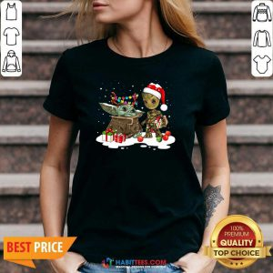 Nice Baby Yoda And Baby Groot Happy Merry Christmas V-neck - Design by Habittees.com