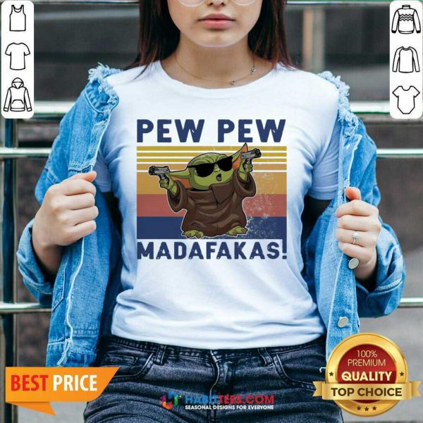Nice Baby Yoda Guns Pew Pew Madafakas Vintage V-neck - Design by Habittees.com