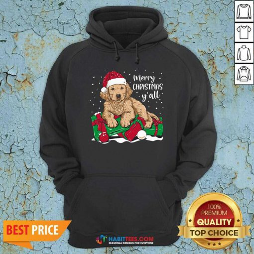 Nice Merry Christmas Y'all Puppy Dog Hoodie - Design by Habittees.com