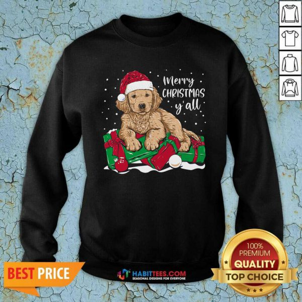 Nice Merry Christmas Y'all Puppy Dog Sweatshirt - Design by Habittees.com