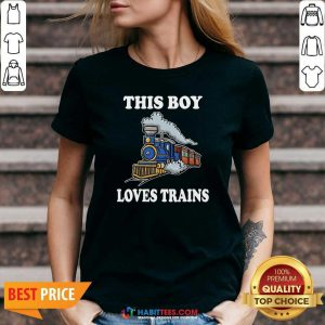Nice This Boy Loves Trains V-neck - Design by Habittees.com