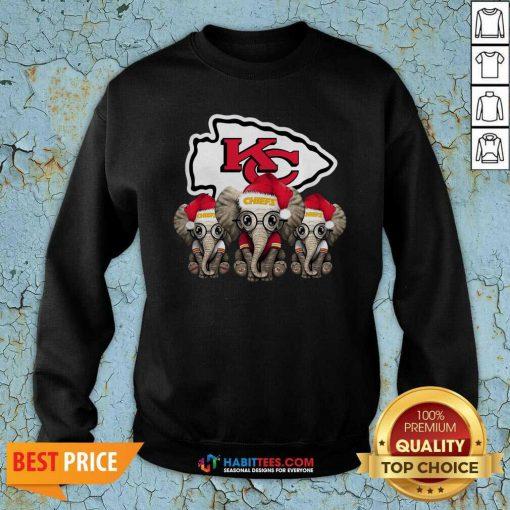 Official Cute Kansas City Chiefs Elephant Christmas Sweatshirt - Design by Habittees.com