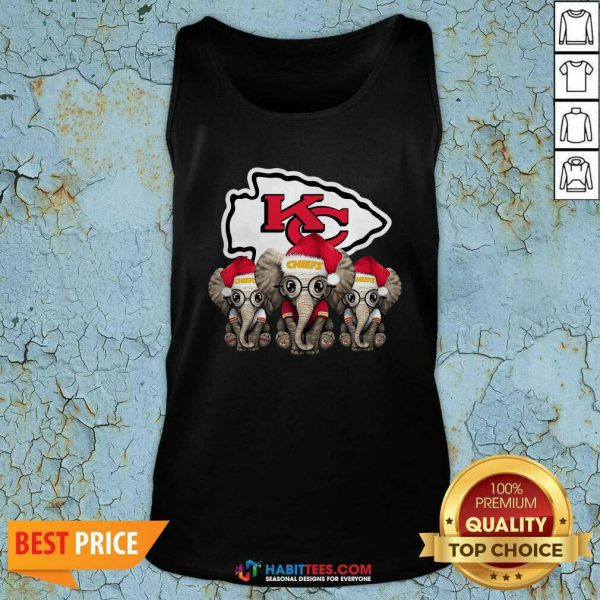 Official Cute Kansas City Chiefs Elephant Christmas Tank Top - Design by Habittees.com