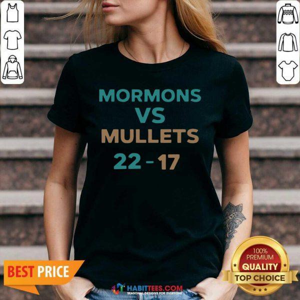 Official Mormons Vs Mullets 22-17 V-neck- Design by Habittees.com
