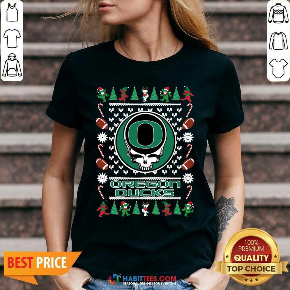 Official Oregon Ducks Grateful Dead Ugly Christmas V-neck - Design by Habittees.com