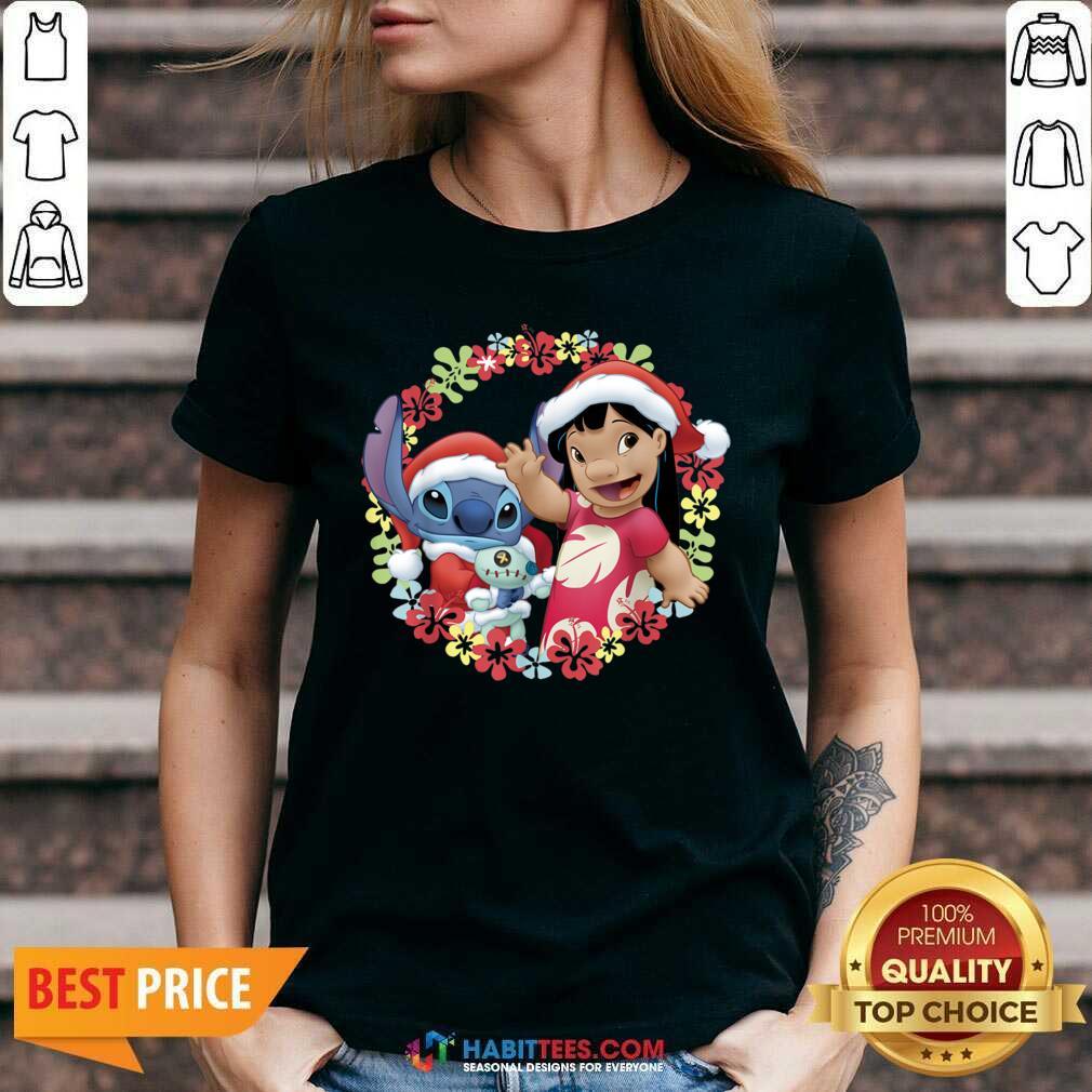 Original Lilo And Stitch Wear Pajama Santa Claus Merry Christmas V-neck- Design by Habittees.com