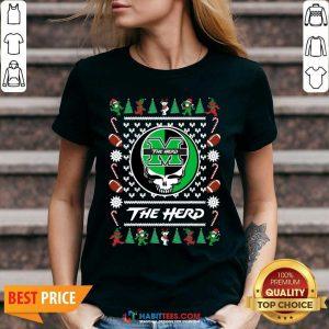 Original Marshall Thundering Herd Grateful Dead Ugly Christmas V-neck - Design by Habittees.com