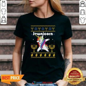 Original Unicorn Jewnicorn Ugly Christmas V-neck - Design by Habittees.com