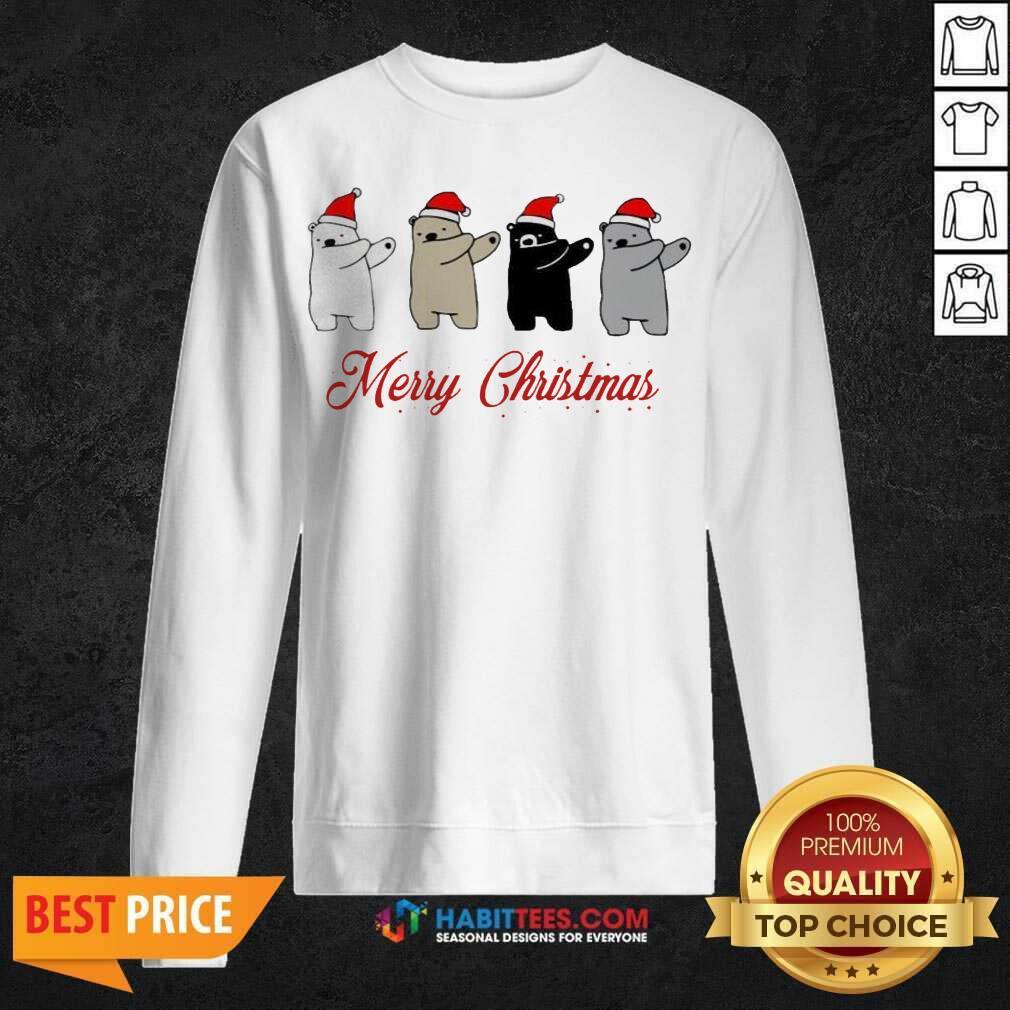 Premium Dabbing Bears Polar Bear Black Bear Merry Christmas Sweatshirt - Design by Habittees.com