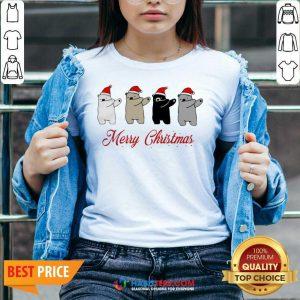 Premium Dabbing Bears Polar Bear Black Bear Merry Christmas V-neck - Design by Habittees.com