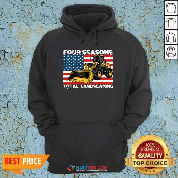 Premium Four Season Total Landscaping American Flag Hoodie - Design by Habittees.com