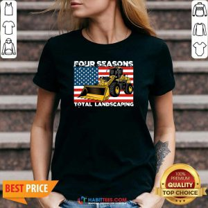 Premium Four Season Total Landscaping American Flag V-neck - Design by Habittees.com