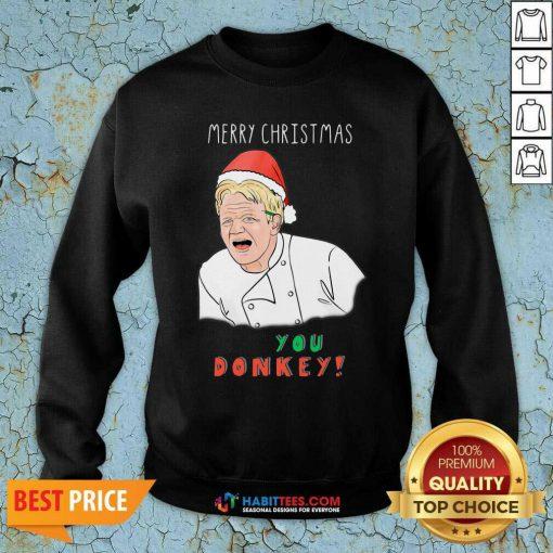 Premium You Donkey Merry Christmas Chef Sweatshirt - Design by Habittees.com