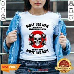 Skull Most Old Men Would Have Given Up By Now Im Not Like Most Old Men V-neck - Design by Habittees.com