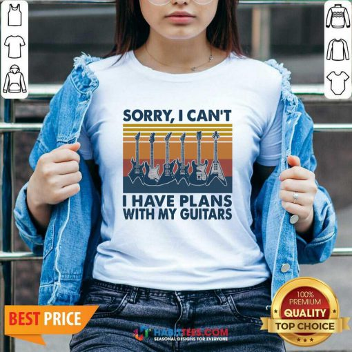 Sorry I Cant Have Plans With My Guitars Vintage Retro V-neck - Design by Habittees.com