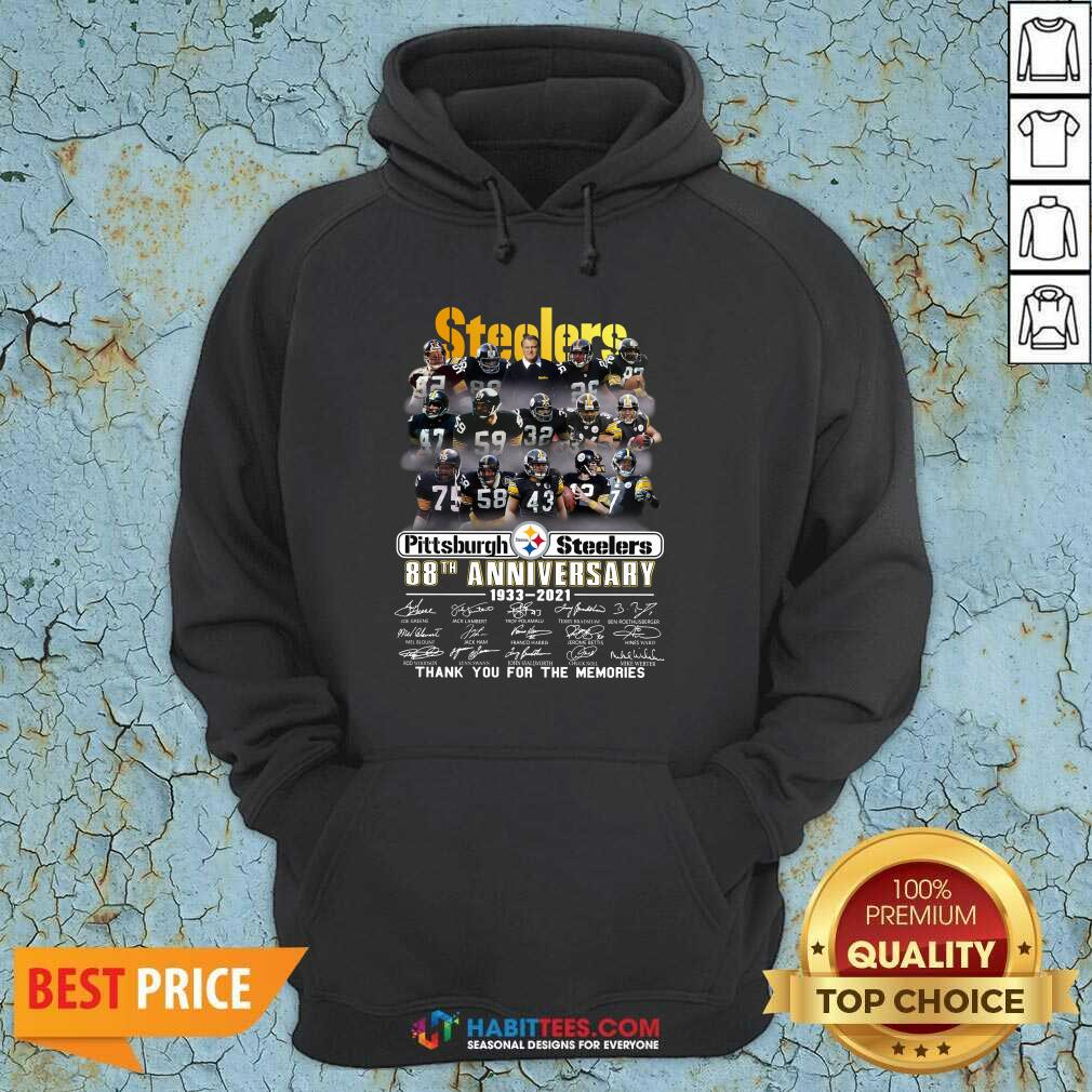 Steelers Pottsburgh 88th Anniversary 1933-2021 Thank You For The Memories Hoodie - Design by Habittees.com
