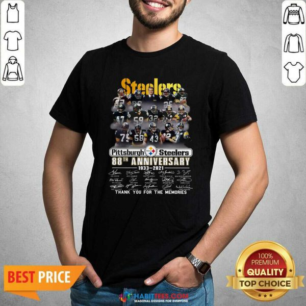 Steelers Pottsburgh 88th Anniversary 1933-2021 Thank You For The Memories Shirt - Design by Habittees.com