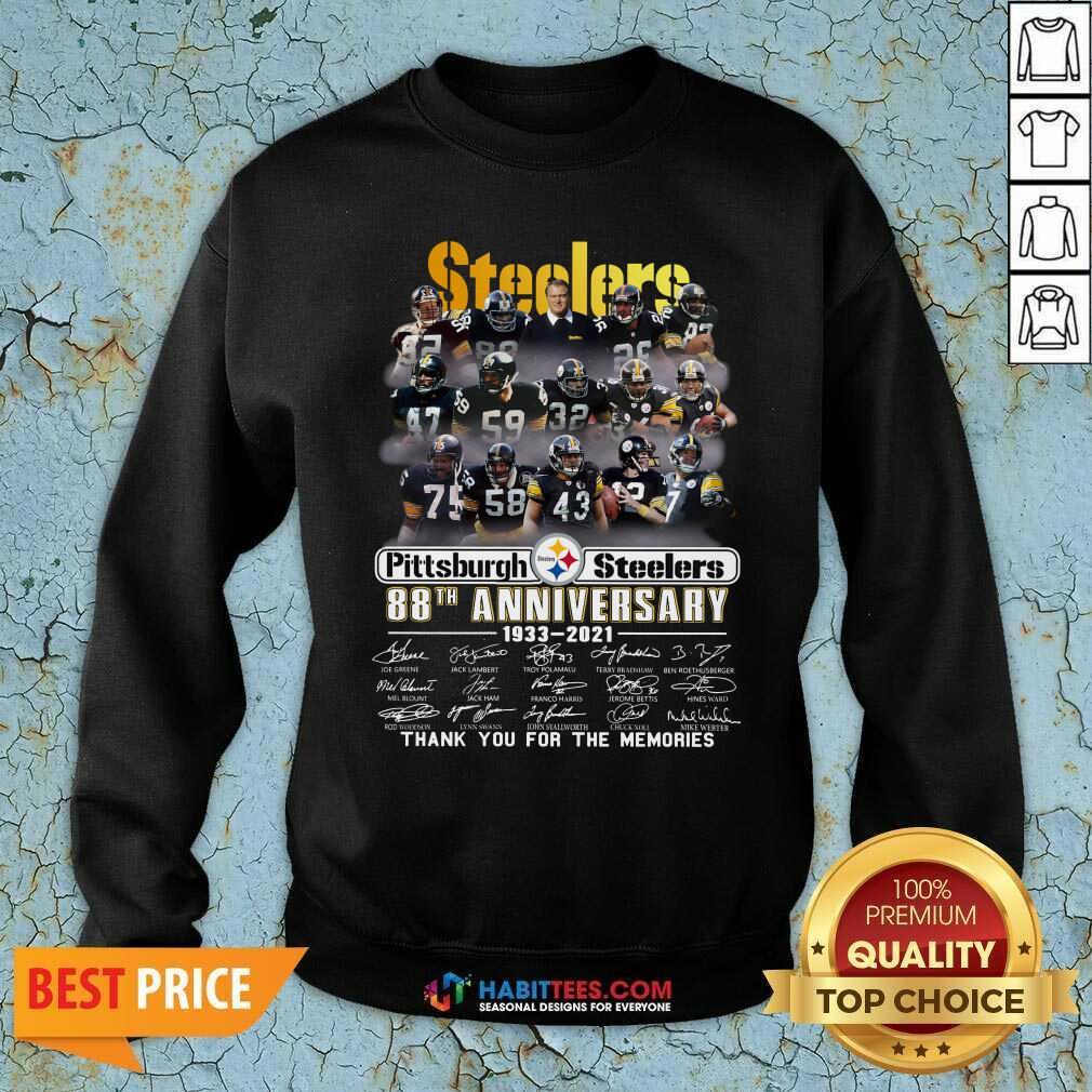 Steelers Pottsburgh 88th Anniversary 1933-2021 Thank You For The Memories Sweatshirt - Design by Habittees.com