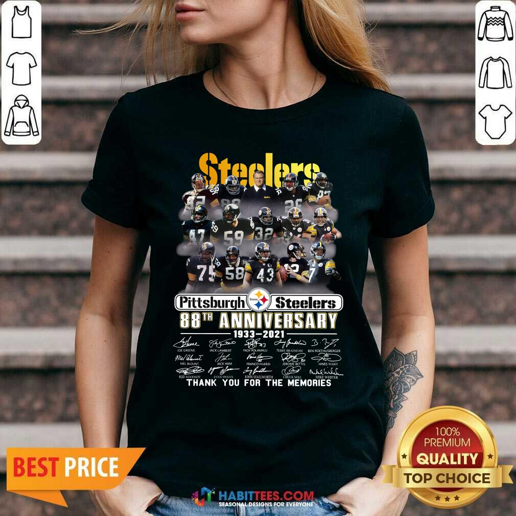 Steelers Pottsburgh 88th Anniversary 1933-2021 Thank You For The Memories V-neck - Design by Habittees.com