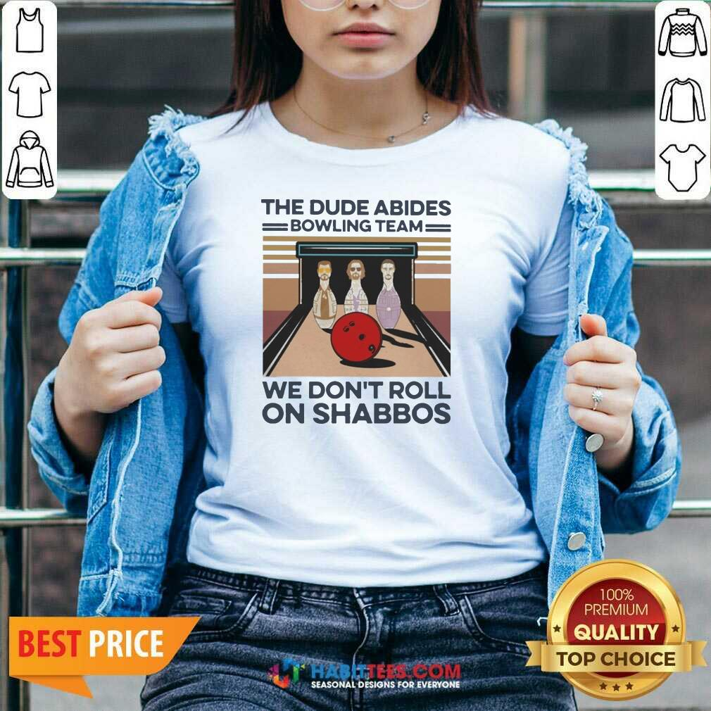 The Dude Abides Bowling Team We Don't Roll On Shabbos Vintage V-neck - Design by Habittees.com