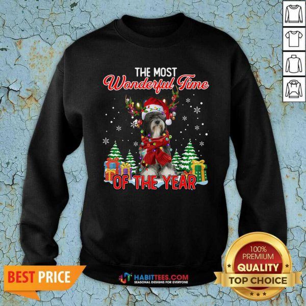 Tibetan Terrier The Most Wonderful Time Of The Year Ugly Christmas Sweatshirt- Design by Habittees.com