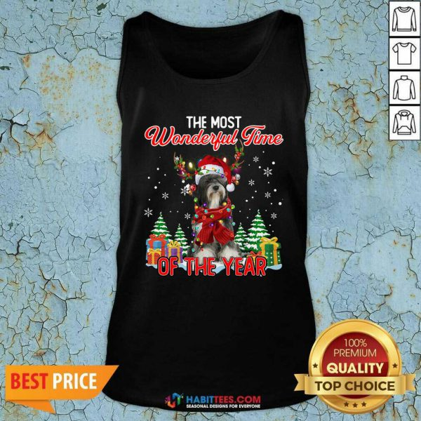 Tibetan Terrier The Most Wonderful Time Of The Year Ugly Christmas Tank Top- Design by Habittees.com