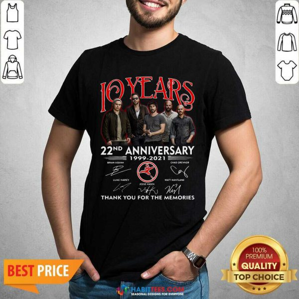 Top 10 Years 22nd Anniversary 1999 2021 Thank Memories Signatures Shirt - Design by Habittees.com