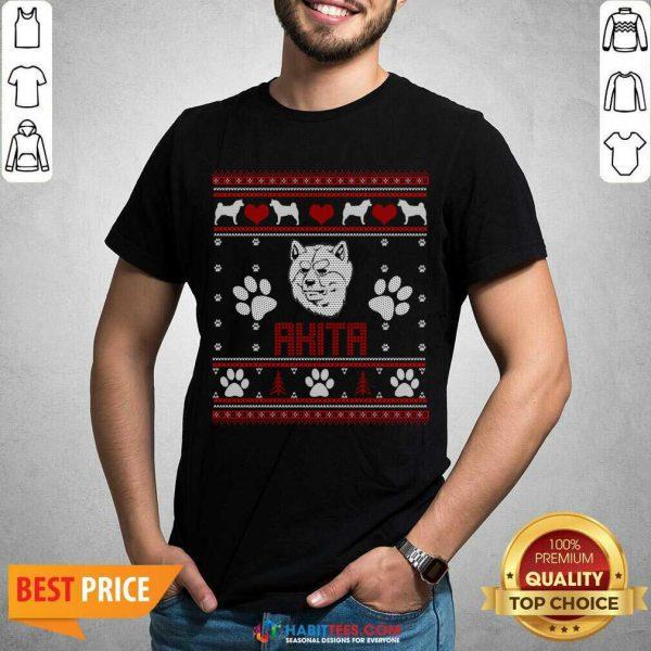 Top Akita Ugly Christmas Shirt - Design by Habittees.com