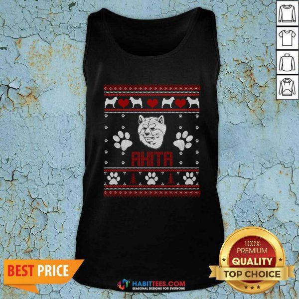 Top Akita Ugly Christmas Tank Top - Design by Habittees.com