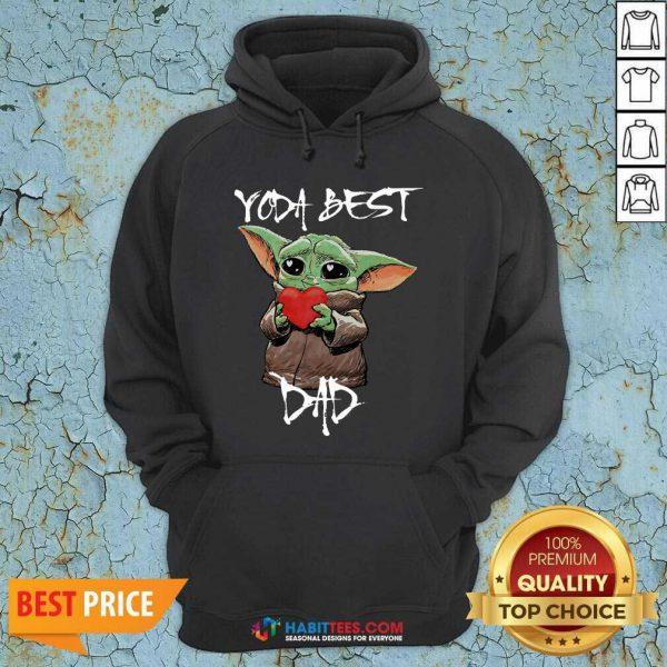Top Baby Yoda Hug Heart Best Dad Hoodie - Design by Habittees.com