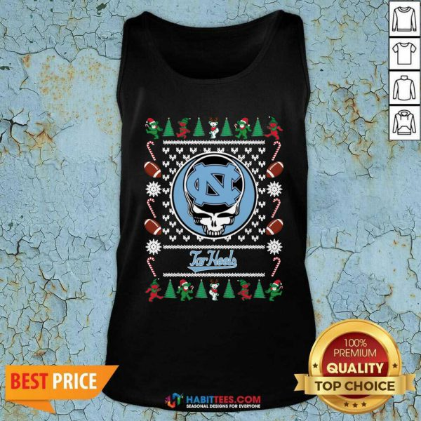Top North Carolina Tar Heels Grateful Dead Ugly Christmas Tank Top - Design by Habittees.com