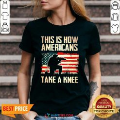 Top This Is How Americans Take A Knee American Flag V-neck - Design by Habittees.com