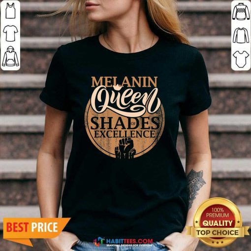 Awesome Melanin Queen Shades Of Excellence Strong Black Woman Fist V-neck - Design by Habittees.com